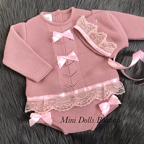 Dusky Pink Knitted Lace Set