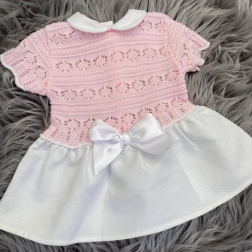 Pink & White Dress 3-6m