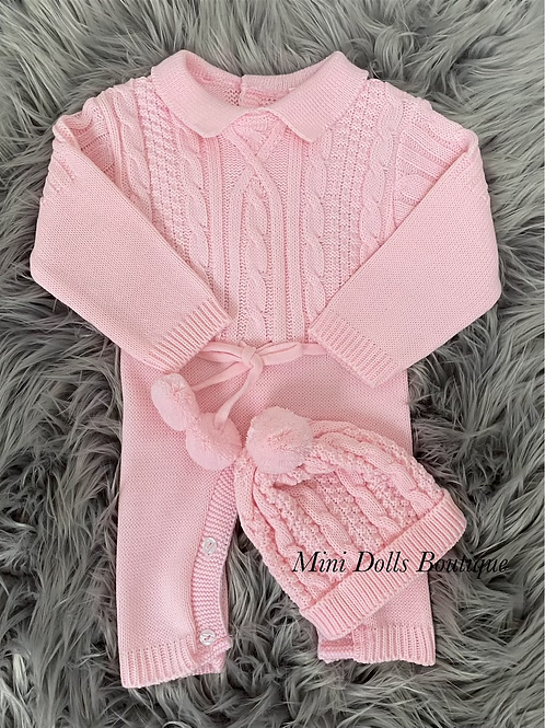 Pink Knitted Romper & Hat Set
