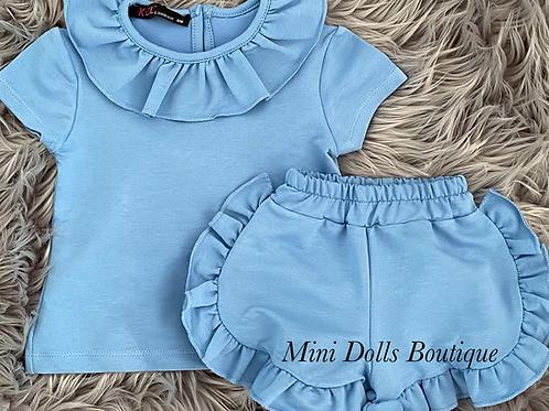 Blue Ruffle Shorts Set
