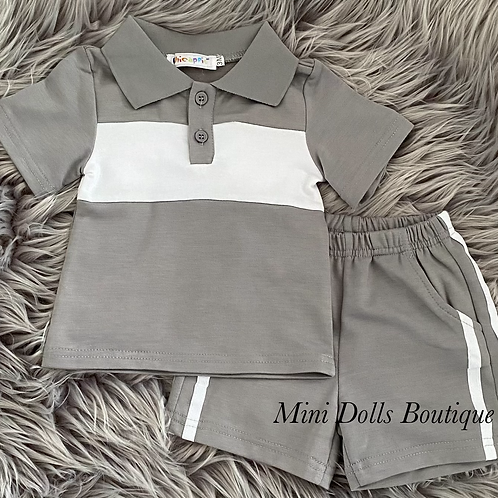 Grey & White Polo Set