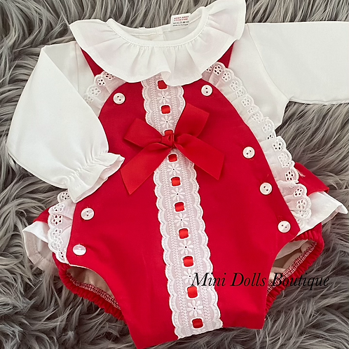 Red Frilly Romper & Blouse Set