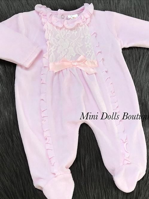 Lace & Frill Velour Babygrow