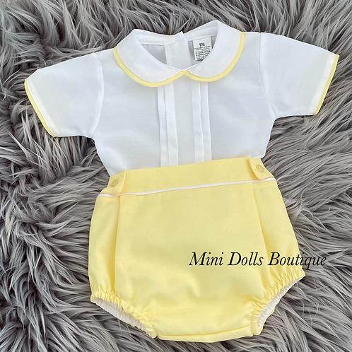 Lemon & White Shirt Set