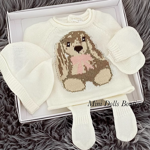 Cream Bunny Knitted Set