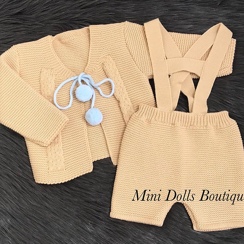 Camel Knitted Shorts Set