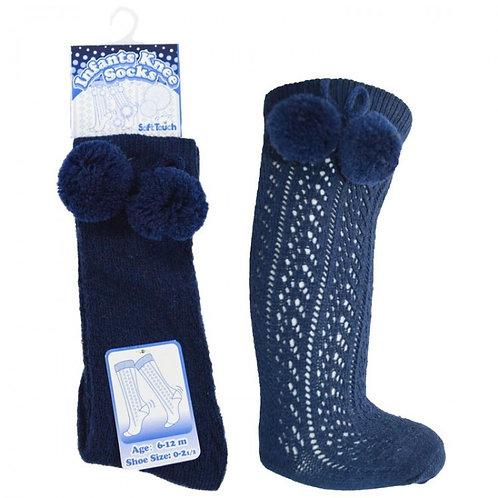 Navy Pelerine Pom Pom Socks