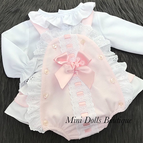 Pink Frilly Romper & Blouse Set
