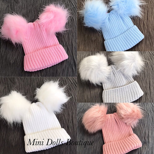 Double Pom Pom Hat NB-6 Months