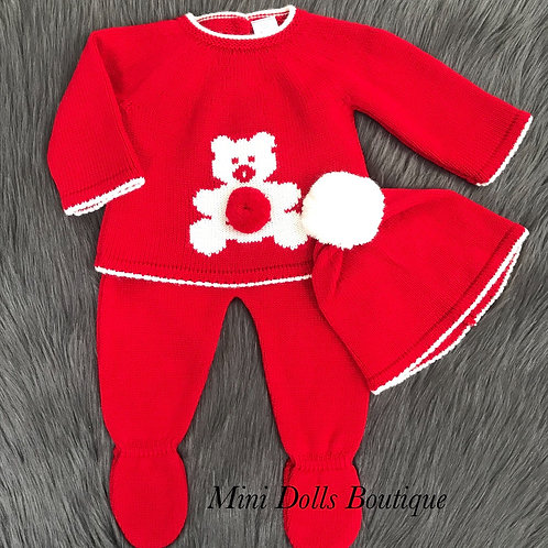 Red Teddy Knitted 3 Piece