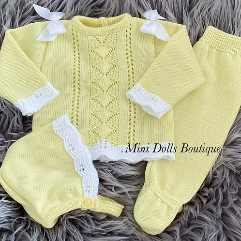 Yellow Knitted 3 Piece 0-3 Months