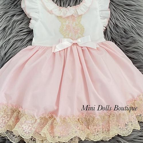White & Pink Lace Trim Dress