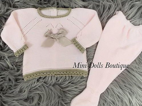 Pink & Beige Knitted Set