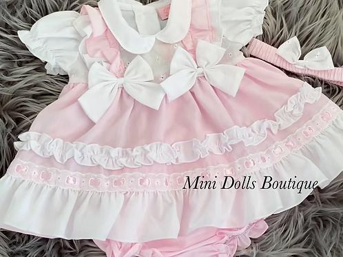 White & Pink Bow Dress Set