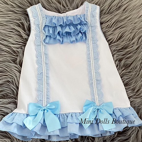 Blue Bow Lace Dress