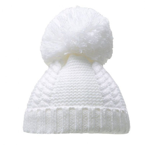 White Cable Pom Pom Hat 6-18m