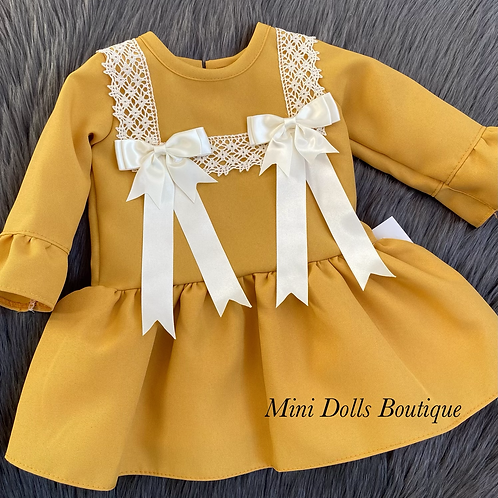 Mustard Double Bow Dress