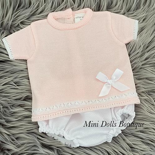 Pink & White Jam Pants Set