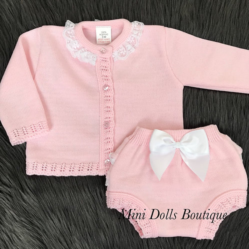 Pink Knitted Frill & Bow Set