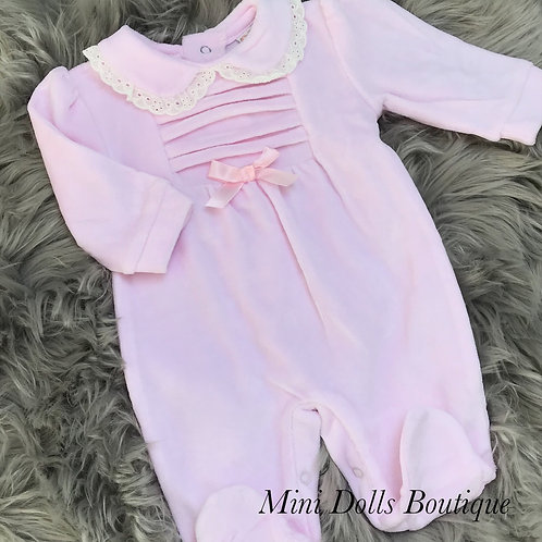 Pink Velour Pleat Babygrow