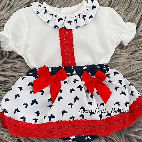 Red & Navy Butterfly Set