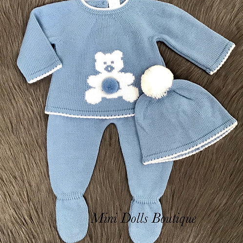 Blue Teddy Knitted 3 Piece