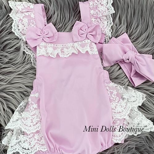Lilac Lace Romper Set