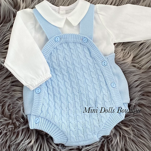 Knitted Dungaree Romper & Shirt