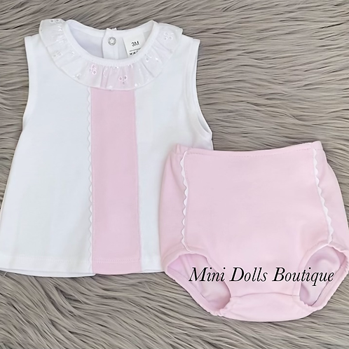 Pink & White Frill Collar 2 Piece