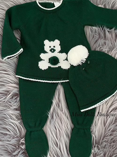 Green Teddy Knitted 3 Piece