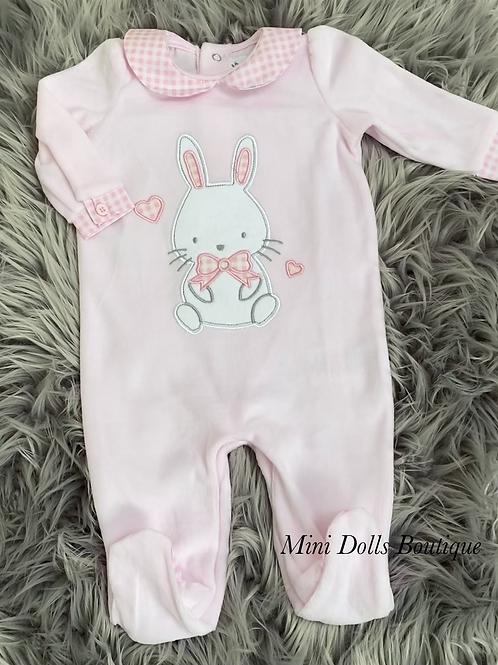 Pink Bunny Velour Babygrow