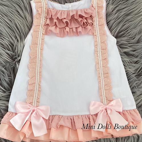 Light Pink Bow Lace Dress
