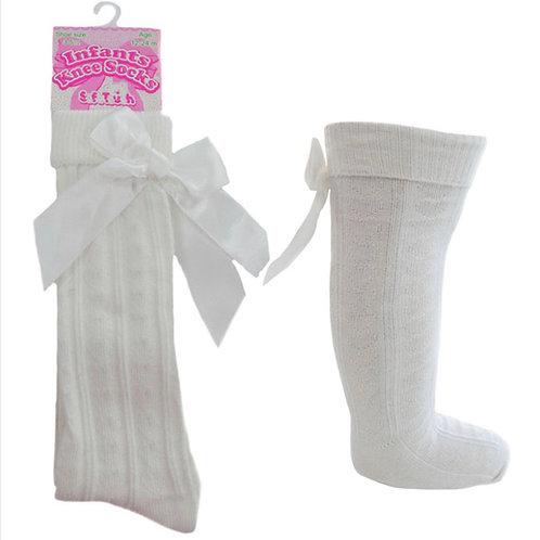 Ivory Knee High Bow Socks