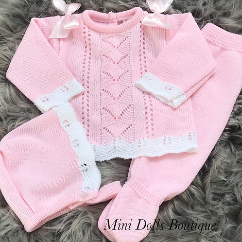Pink Knitted 3 Piece (0-3m)