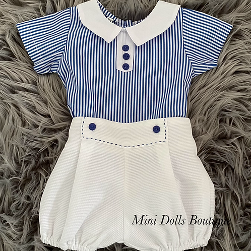 Blue & White Striped 2 Piece