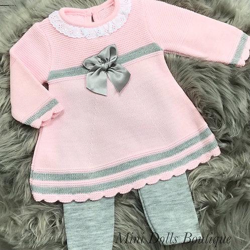 Pink & Grey Knitted Dress Set