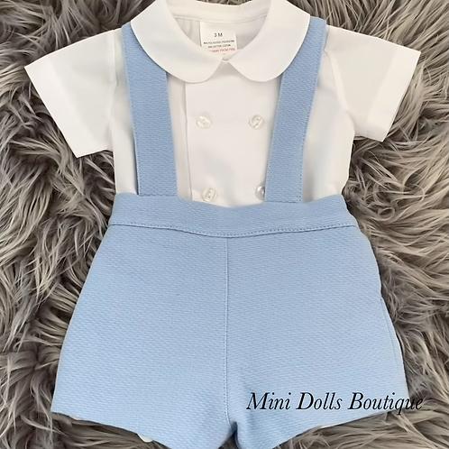 Blue Dungaree Shirt Set