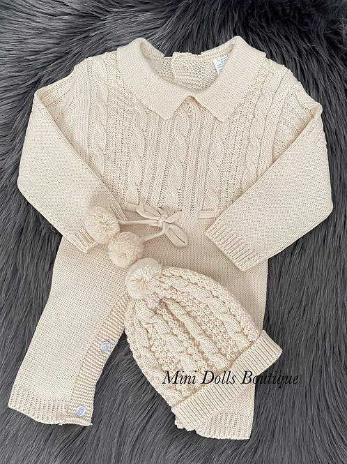 Beige Knitted Romper & Hat Set