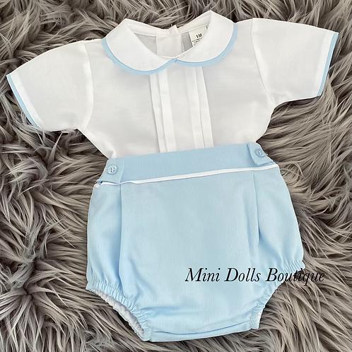 Blue & White Shirt Set
