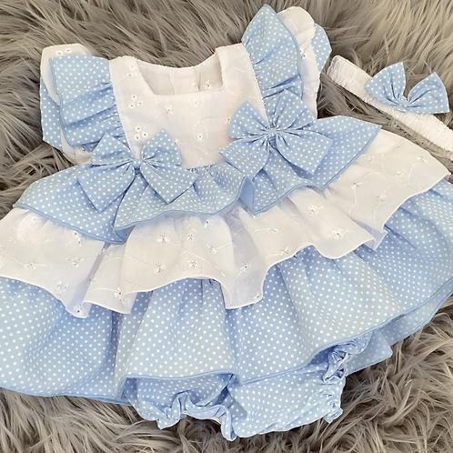 Blue & White Tiered Dress Set