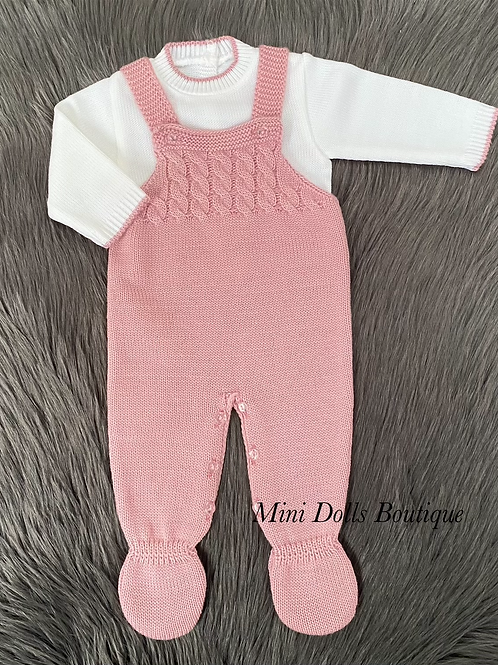 Dusky Pink Knitted Dungaree Set