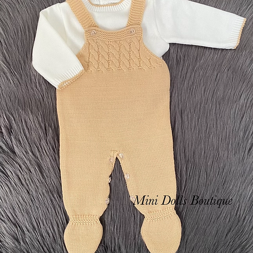 Camel Knitted Dungaree Set