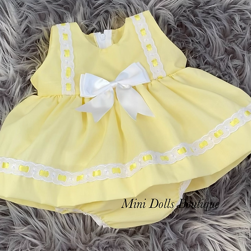 Lemon Ribbon Slotted Dress Set
