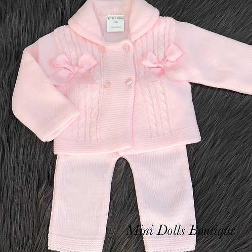 Pink Knitted Jacket & Trousers