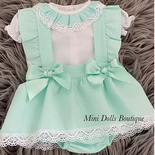 Mint Double Bow Skirt Set