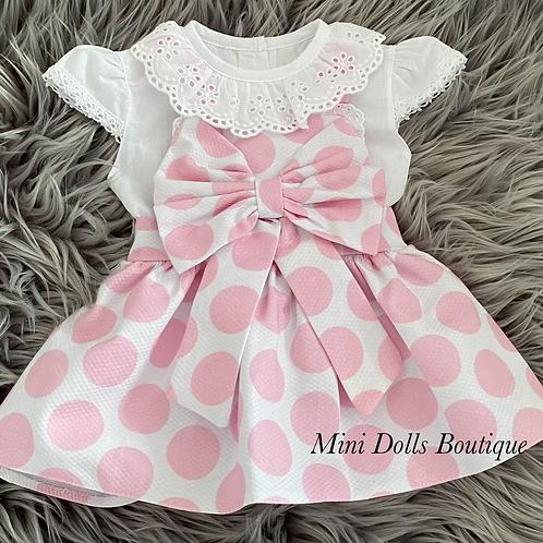 Pink Polka Dot Dress Set