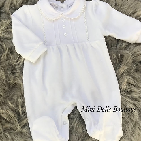 White Velour Pintuck Babygrow