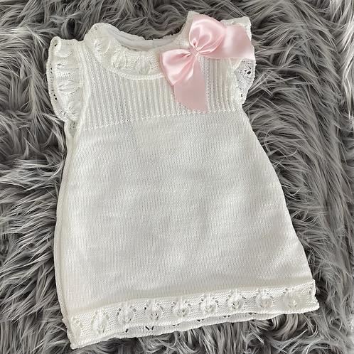White Bow Dress 3-6m