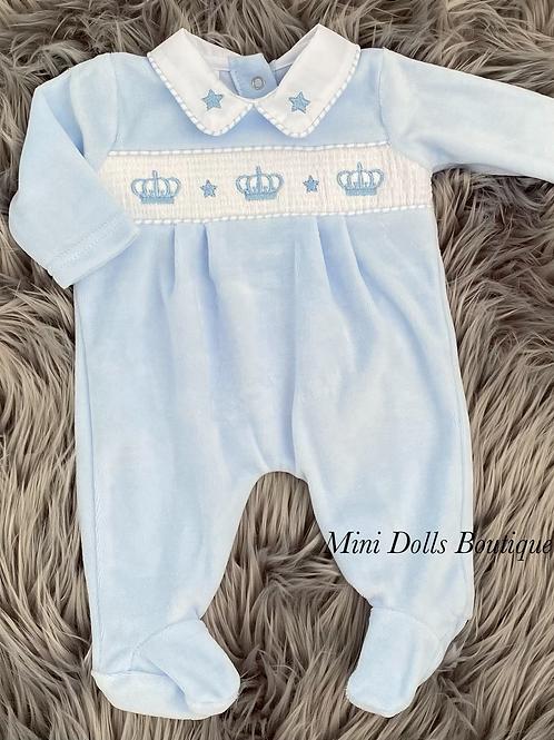 Blue Crown Velour Babygrow
