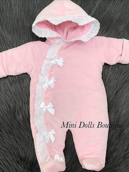 Pink Velour Snowsuit